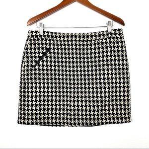 Beth Bowley Wool Blend Houndstooth Mini  Skirt 10